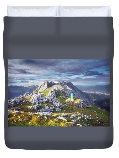 Shelter In The Top Of Urkiola Mountains Duvet Cover