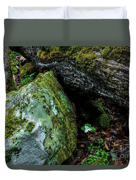 Sheltered By The Rock Duvet Cover