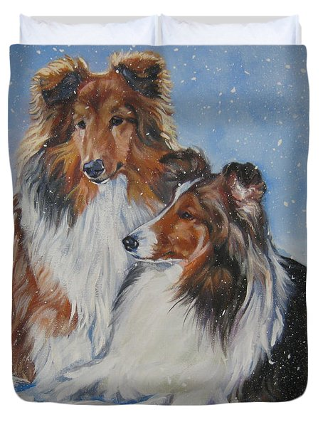 Sheltie Pair Duvet Cover by Lee Ann Shepard