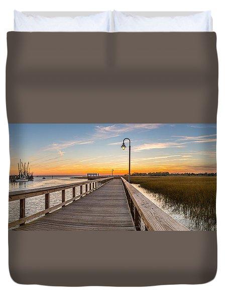 Shem Creek Pier Panoramic Duvet Cover