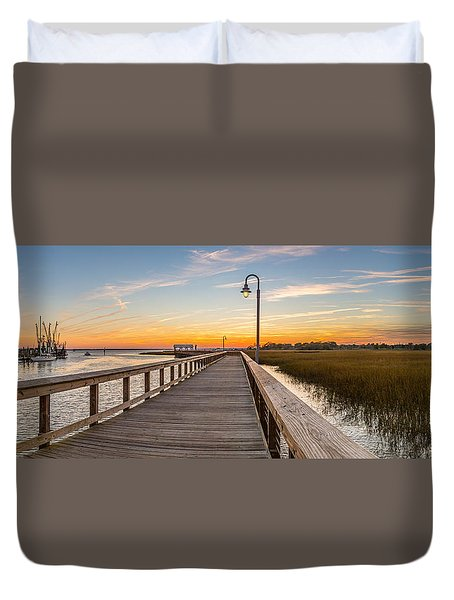 Shem Creek Pier Panoramic Duvet Cover