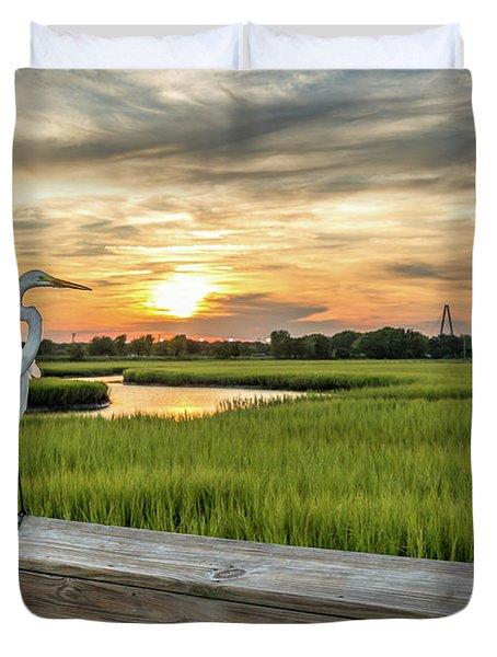 Shem Creek Pier Sunset Duvet Cover