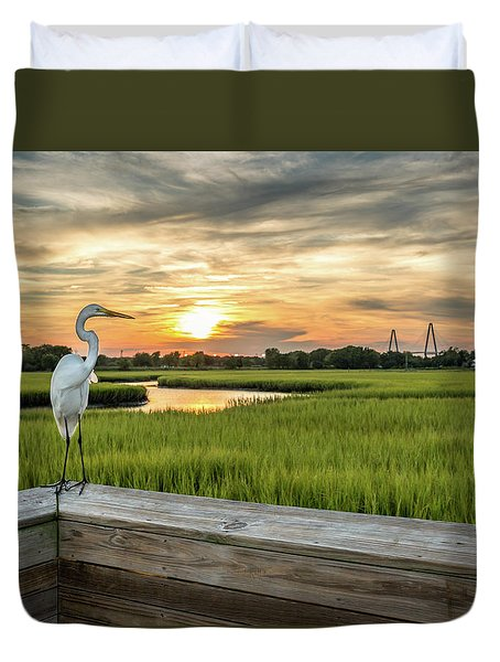 Shem Creek Pier Sunset Duvet Cover