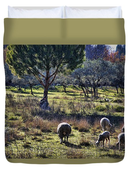Shepherd And Sheep Duvet Cover by Hugh Smith