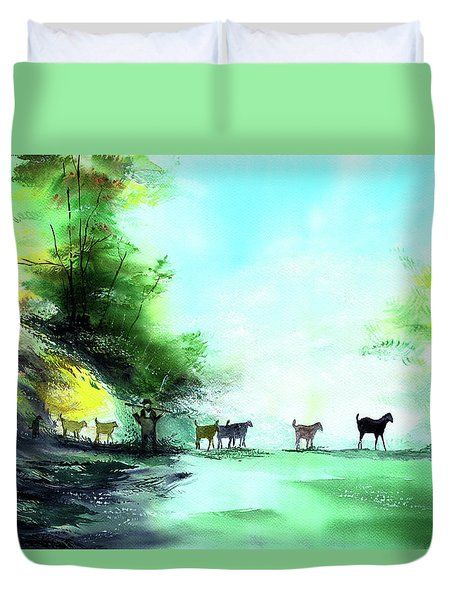 Duvet Cover featuring the painting Shepherd by Anil Nene