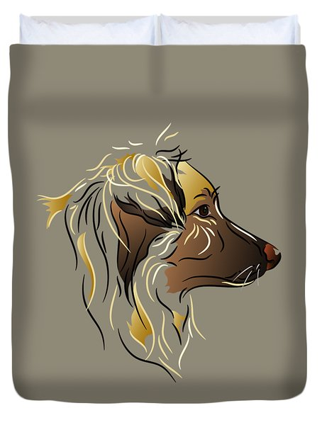 Duvet Cover featuring the digital art Shepherd Dog In Profile by MM Anderson