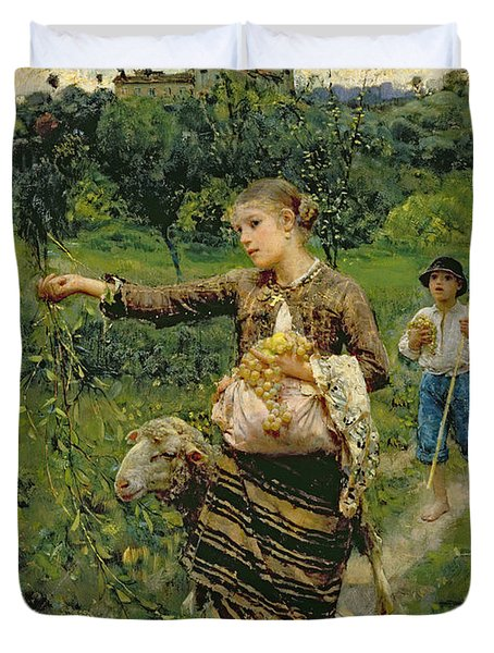 Shepherdess Carrying A Bunch Of Grapes Duvet Cover by Francesco Paolo Michetti