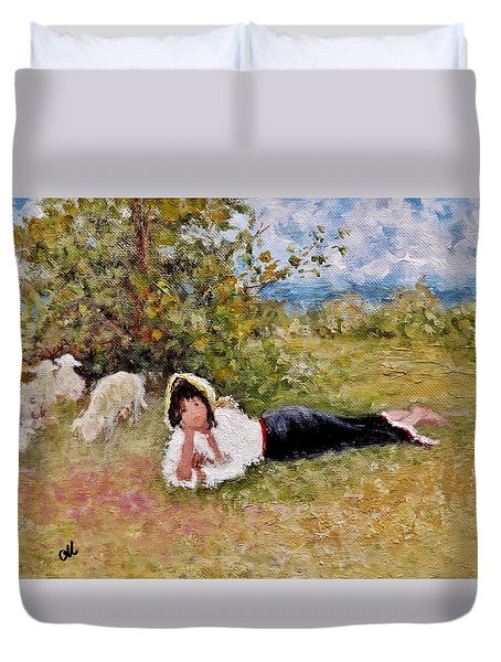 Duvet Cover featuring the painting Shepherdess.. by Cristina Mihailescu