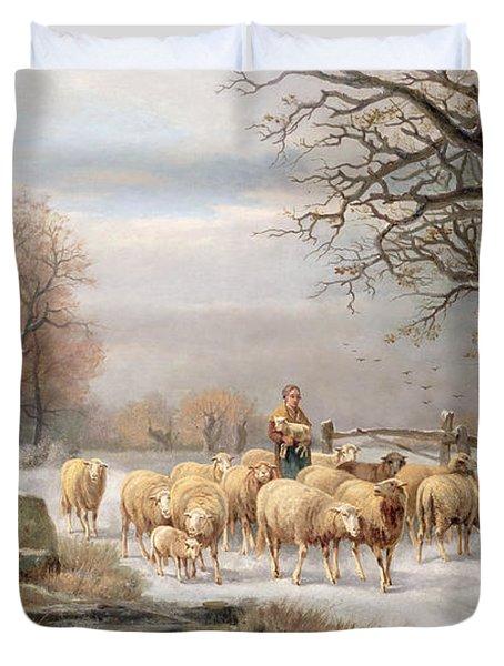 Shepherdess With Her Flock In A Winter Landscape Duvet Cover by Alexis de Leeuw