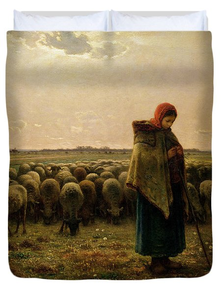 Shepherdess With Her Flock Duvet Cover by Jean Francois Millet