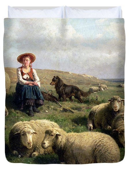 Shepherdess With Sheep In A Landscape Duvet Cover by C Leemputten and T Gerard
