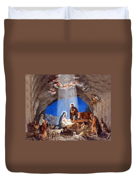 Shepherds Field Nativity Painting Duvet Cover by Munir Alawi