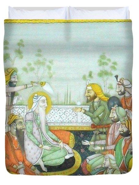 Sher A Punjab Sikh Maharaja Ranjit Singh Court Scene Miniature Painting Of India Watercolor Artwork Duvet Cover