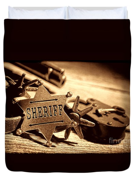 Sheriff Tools Duvet Cover by American West Legend By Olivier Le Queinec