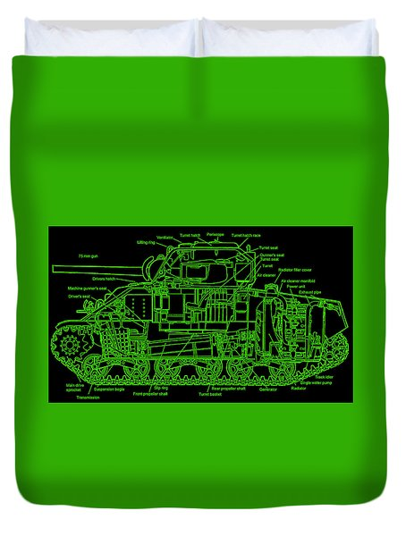 Duvet Cover featuring the drawing Sherman M4a4 Tank by Robert Geary