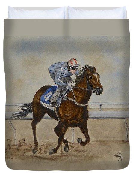 She's Taking The Lead ... Horserace Duvet Cover