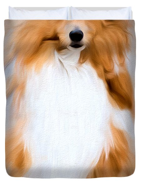 Duvet Cover featuring the photograph Shetland Sheepdog - Sheltie by Ericamaxine Price