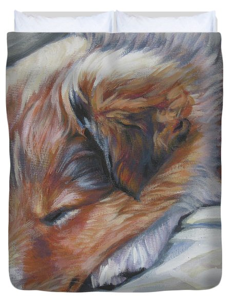 Shetland Sheepdog Sleeping Puppy Duvet Cover by Lee Ann Shepard