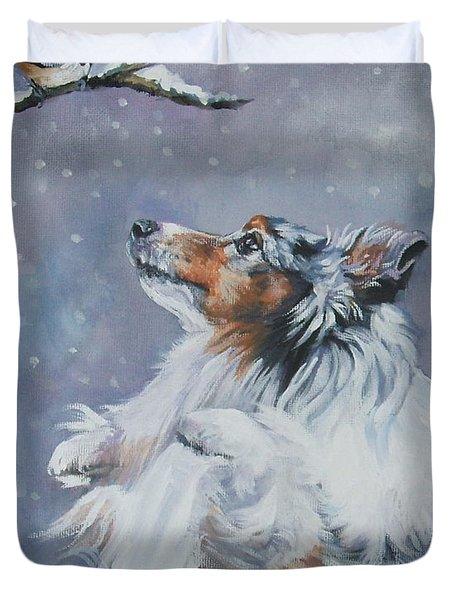 Shetland Sheepdog With Chickadee Duvet Cover