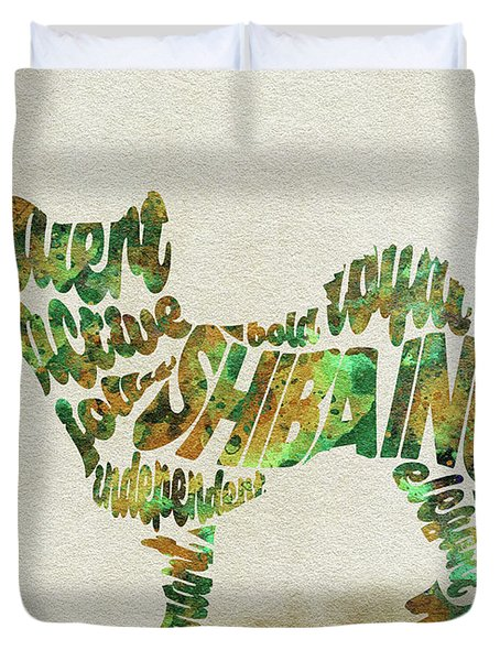 Duvet Cover featuring the painting Shiba Inu Watercolor Painting / Typographic Art by Inspirowl Design