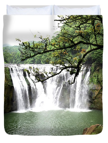Shifen Waterfall  Duvet Cover