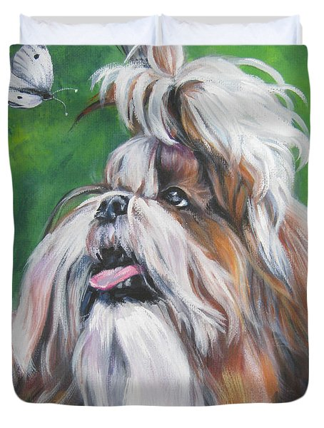 Shih Tzu And Butterfly Duvet Cover by Lee Ann Shepard