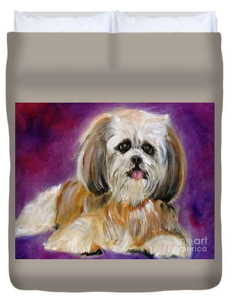 Shih-tzu Puppy Duvet Cover by Jenny Lee