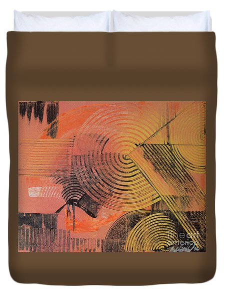 Duvet Cover featuring the painting Shimmer by Melissa Goodrich