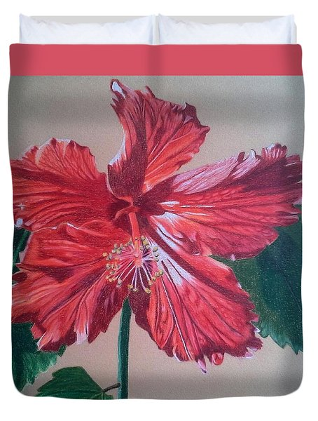 Shimmer - Red Hibiscus Duvet Cover by Anita Putman
