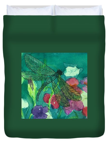 Shimmering Dragonfly W Sweetpeas Square Crop Duvet Cover