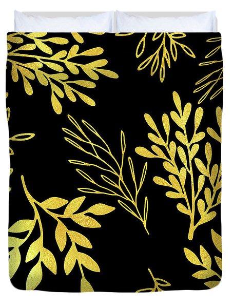 Shimmering Golden Leaves Nature Pattern Duvet Cover