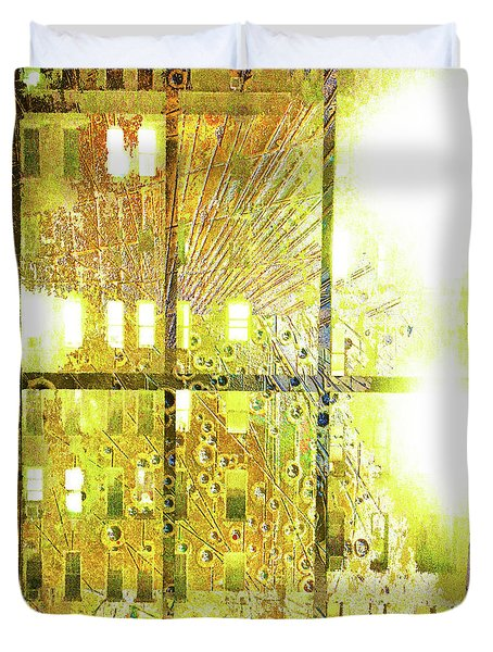 Duvet Cover featuring the mixed media Shine A Light by Tony Rubino