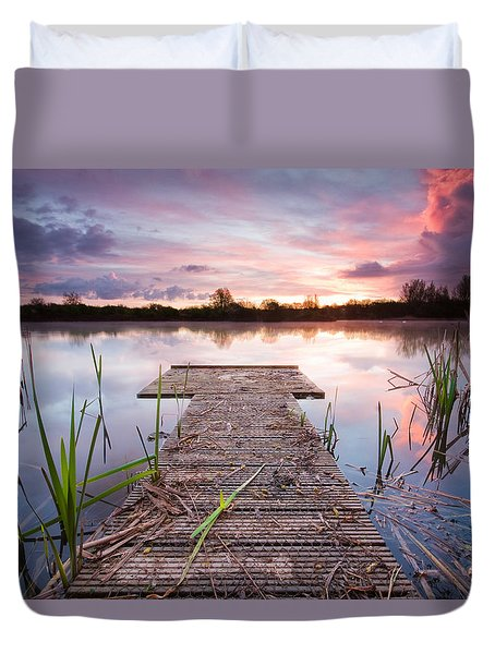 Shinewater Lake Sunrise Duvet Cover
