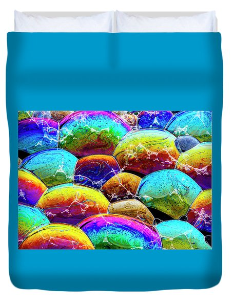 Duvet Cover featuring the photograph Shiney Bubbles by Jean Noren