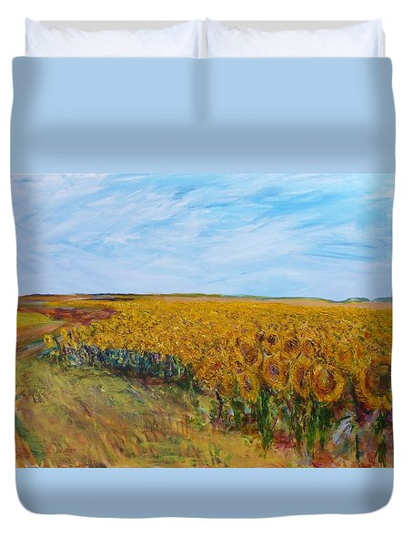 Sunny Faces Duvet Cover by Helen Campbell
