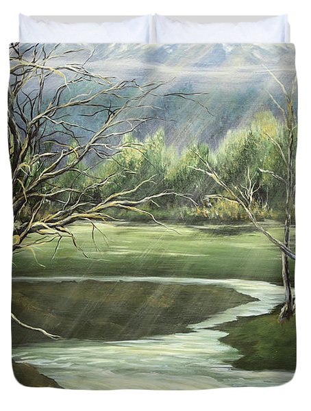 Shining Sisters Duvet Cover by Janice Smith