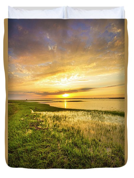 Shinnecock Bay Wetland Sunset Duvet Cover