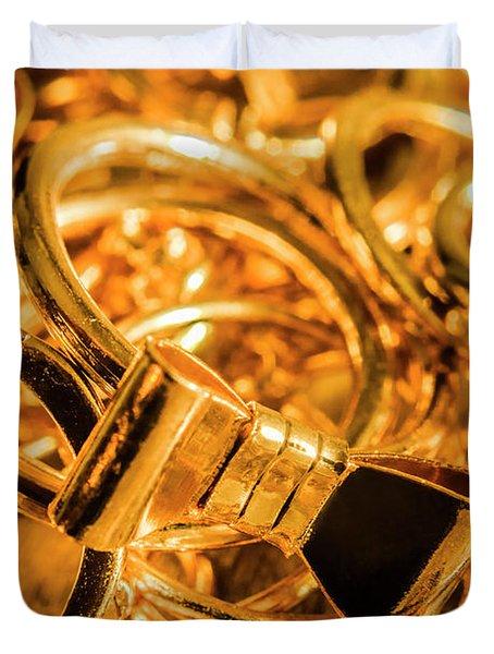 Shiny Gold Rings Duvet Cover