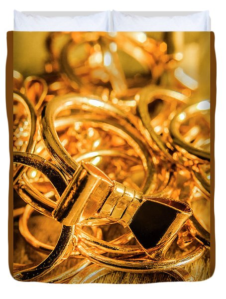 Shiny Gold Rings Duvet Cover