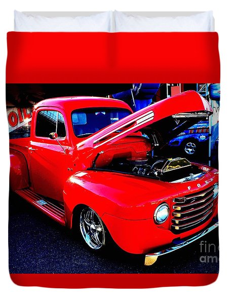 Shiny Red Ford Truck Duvet Cover by Natalie Ortiz