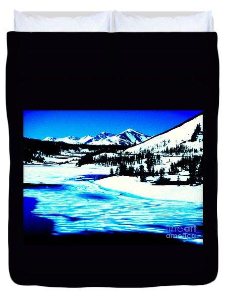 Shiny Snow Magic On Lake Duvet Cover