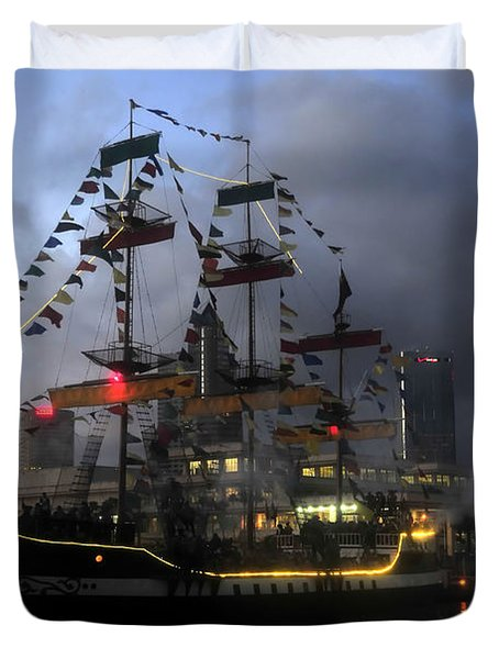 Ship In The Bay Duvet Cover
