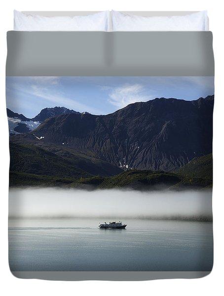 Ship In The Fog Duvet Cover