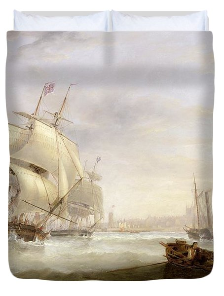 Shipping Off Hartlepool Duvet Cover by John Wilson Carmichael