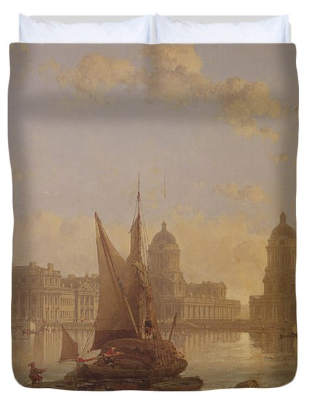 Shipping On The Thames At Greenwich Duvet Cover by David Roberts