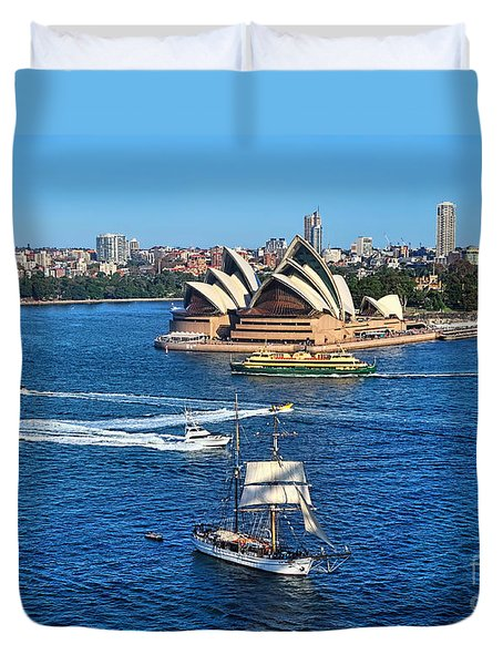 Ships And Boats Passing Opera House Duvet Cover by Kaye Menner