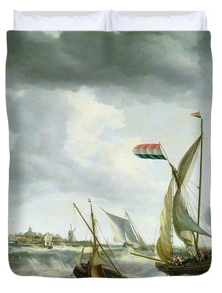 Ships At Sea  Duvet Cover by Bonaventura Peeters