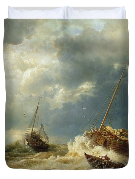 Ships In A Storm On The Dutch Coast Duvet Cover by Andreas Achenbach