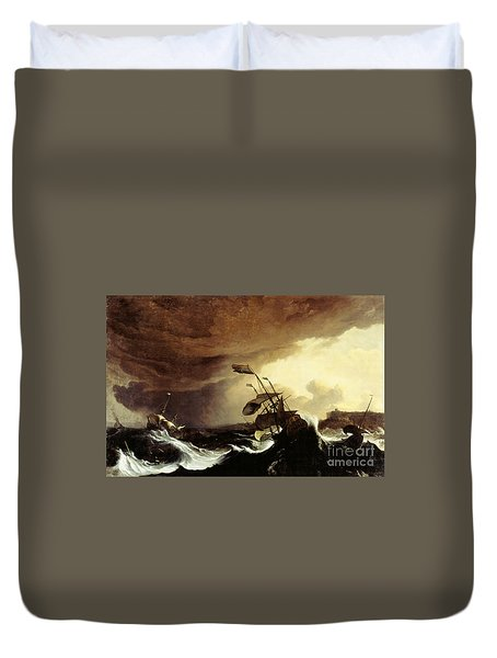 Ships In A Stormy Sea Off A Coast Duvet Cover