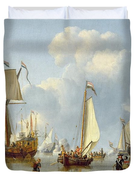 Ships In Calm Water With Figures By The Shore Duvet Cover by Abraham Storck